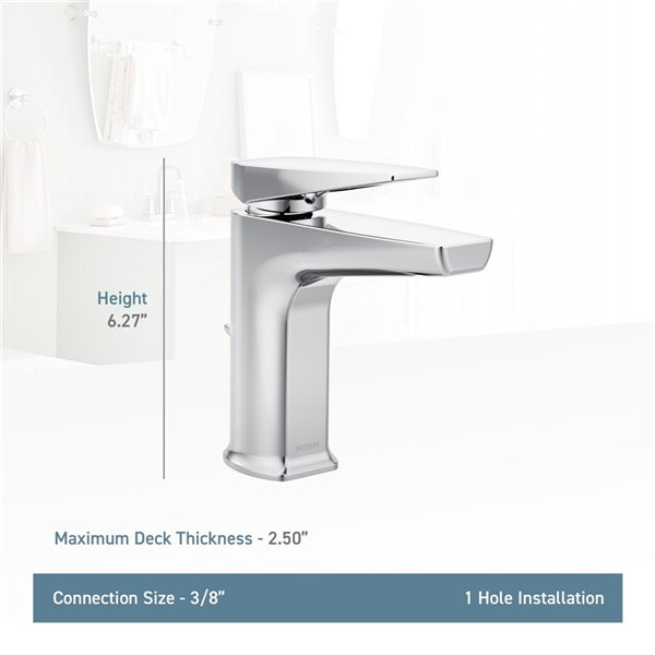 Moen Via Bathroom Faucet - Matte Black/Chrome