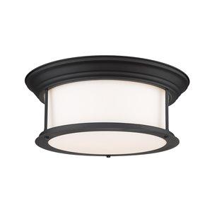 Plafonnier Sonna de Z-Lite à 3 ampoules, noir mat, 15,5 po x 15,5 po