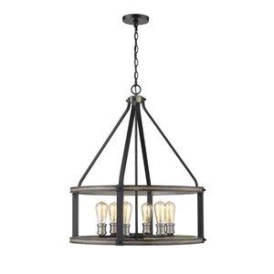 Luminaire suspendu Kirkland de Z-Lite, 6 lumière pendentif en Ashen Barnboard