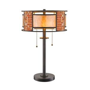Lampe de table à 2 ampoules Parkwood de Z-Lite, fini bronze, mica blanc et carreaux, 22 po