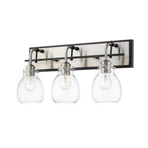 Luminaire de vanité pour salle de bain Kraken de Z-Lite à 3 ampoules, noir mat et nickel brossé