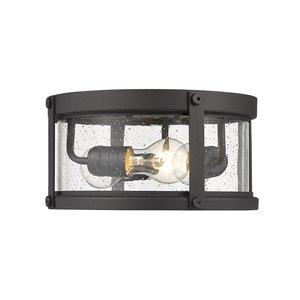 Plafonnier extérieur Roundhouse de Z-Lite à 3 ampoules, noir et verre clair