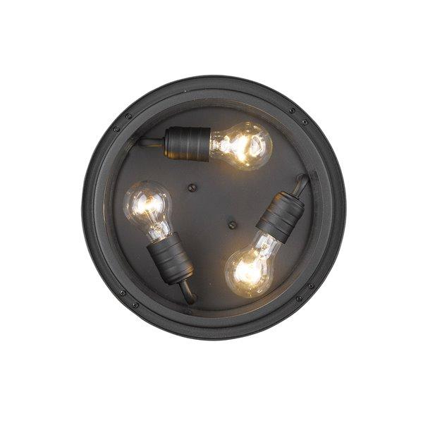 Z-Lite Jordan 3-Light Outdoor Flush Mount Ceiling Light in Black