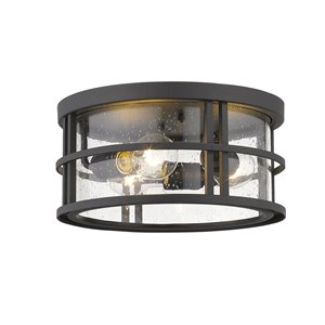 Z-Lite Jordan 3-Light Outdoor Flush Mount Ceiling Light in Black