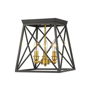 Plafonnier Trestle de Z-Lite à 3 Ampoules, noir mat, 11 po x 11 po