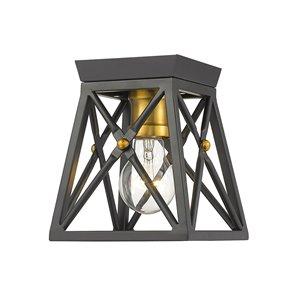 Plafonnier Trestle de Z-Lite à 1 Ampoules, noir mat, 6 po x 6 po