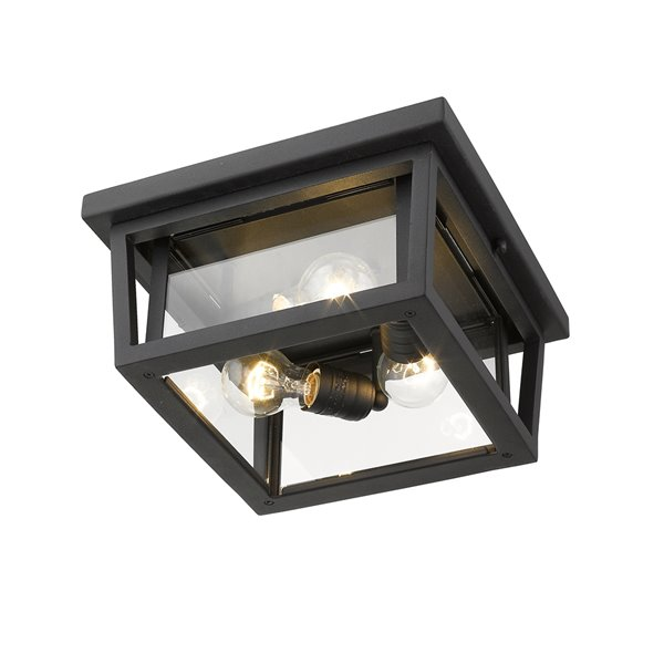Plafonnier extérieur Séoul de Z-Lite à 3 ampoules, noir et verre clair