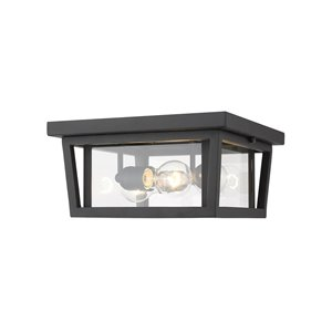 Z-Lite Seoul 3-Light Outdoor Flush Mount Ceiling Light in Black and Clear Glass