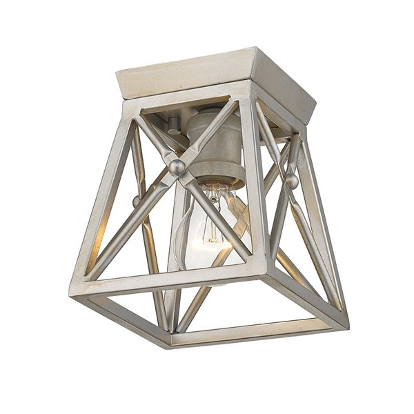 Z-Lite Trestle 1 Light Flush Mount in Pewter Antique Finish - 6-in x 6-in