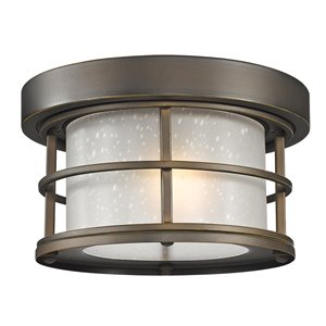Z-Lite 1-Light Outdoor Flush Mount Ceiling Light - Bronze and White Glass