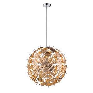 Luminaire suspendu Branam de Z-Lite à 13 ampoules, chrome et champagne