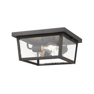 Plafonnier extérieur Balise de Z-Lite à 3 ampoules, bronze et verre clair