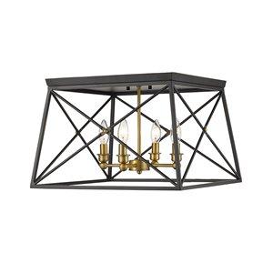Plafonnier Trestle de Z-Lite à 4 Ampoules, noir mat, 18 po x 18 po