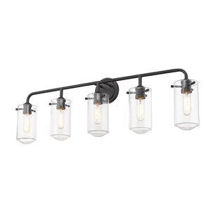 Luminaire de vanité pour salle de bain Delaney de Z-Lite à 5 ampoules, noir mat