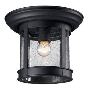 Z-Lite Outdoor Flush Mount Ceiling Light - Black Finish and Clear Glass