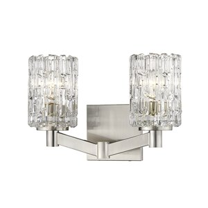 Z-Lite Aubrey 2 Light Vanity and Clear Glass in Brushed Nickel Finish