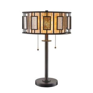 Lampe de table à 2 ampoules Lankin de Z-Lite, extérieur mercure argenté et intérieur mica blanc, 22 po