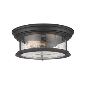 Plafonnier Sonna de Z-Lite à 2 ampoules, noir mat, 13,5 po x 13,5 po