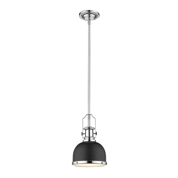 Luminaire suspendu Melange de Z-Lite, 1 lumière, noir mat et chrome