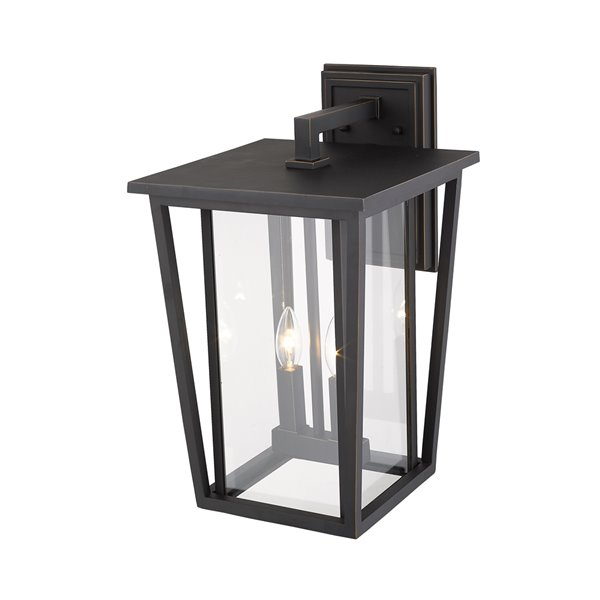 Z-Lite Seoul 2-Light Outdoor Wall Sconce in Oil Rubbed Bronze