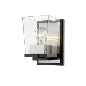 Z-Lite Bleeker Street 1 Light Wall Sconce - Matte Black and Brushed Nickel - 6.5-in x 7.5-in x 5-in