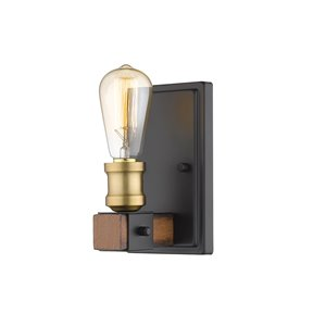 Z-Lite Kirkland 1 Light Wall Sconce in Rustic Mahogany - 4.5-in x 8.5-in x 4.75-in