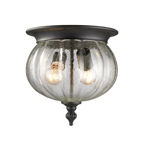 Z-Lite Belmont Outdoor Flush Mount Ceiling Light - Black Finish