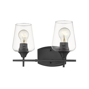 Z-Lite Joliet 2 Light Vanity and Clear Glass in Matte Black Finish