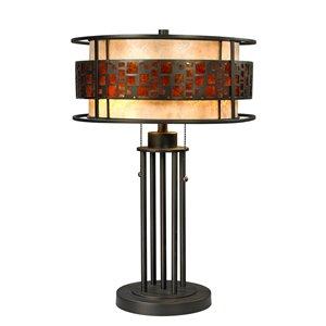 Lampe de table à 2 lumières Oak Park de Z-Lite, extérieur mica ambré et intérieur blanc, 22 po