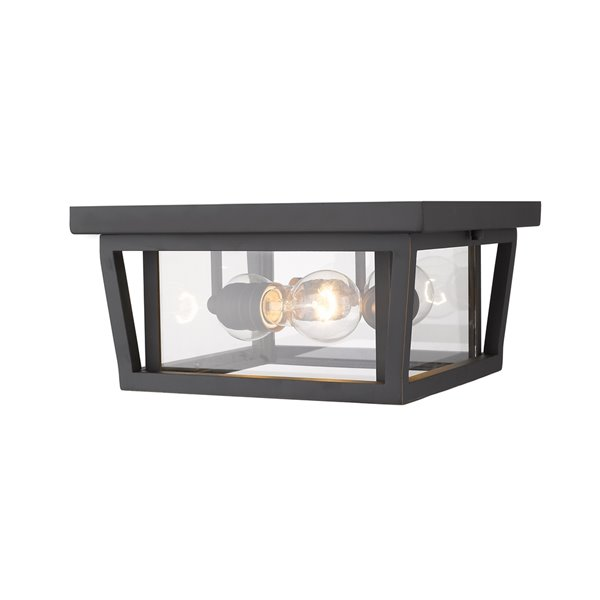 Z Lite Seoul 3 Light Outdoor Flush Mount Ceiling Light Bronze And Clear Glass 571f Orb Rona