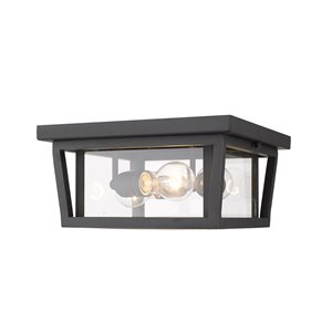 Plafonnier extérieur Séoul de Z-Lite à 3 ampoules, bronze et verre clair