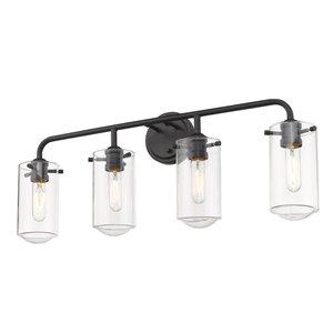 Luminaire de vanité pour salle de bain Delaney de Z-Lite à 4 ampoules, noir mat