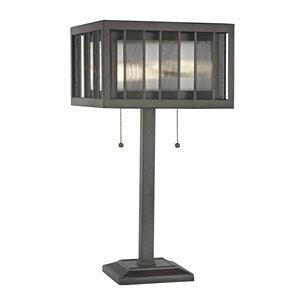 Lampe de table à 2 ampoules Meridional de Z-Lite, verre bronze et acier, 23 po