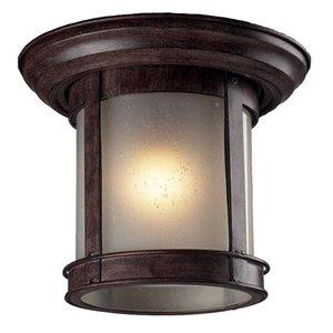 Plafonnier extérieur Z-Lite, bronze et verre blanc, 9,75 po x 9,75 po