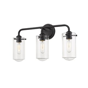 Z-Lite Delaney 3 Light Vanity and Clear Glass in Matte Black Finish