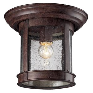 Z-Lite Outdoor Flush Mount Ceiling Light - Bronze and Clear Glass