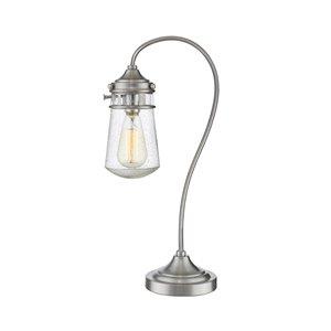 Lampe de table à 1 ampoule Celeste de Z-Lite, nickel brossé et gouttes claires, 20,5 po