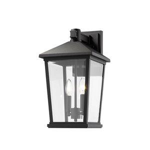 Luminaire mural extérieur Beacon de Z-Lite 2 ampoules, noir