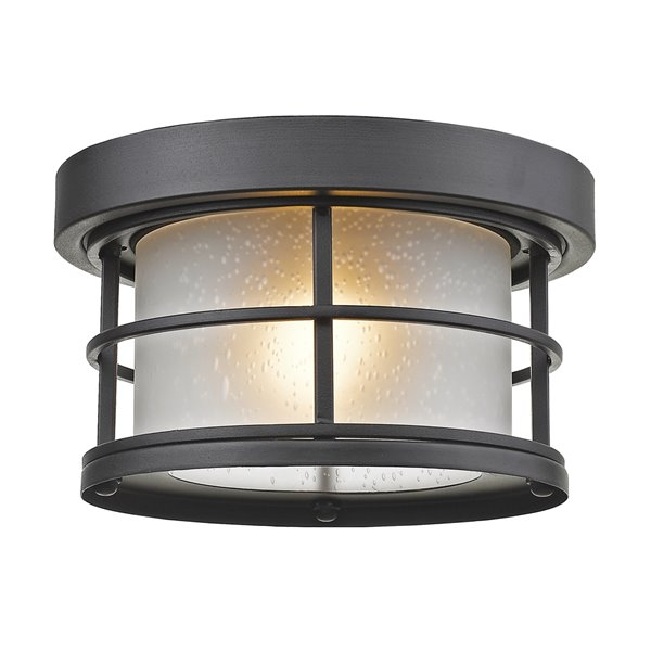 Z-Lite 1-Light Outdoor Flush Mount Ceiling Light - Black and White Glass - 10-in x 10-in
