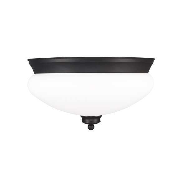 Z-Lite Amon 2-Light Flush Mount in Black Matte Finish - 13-in x 13-in