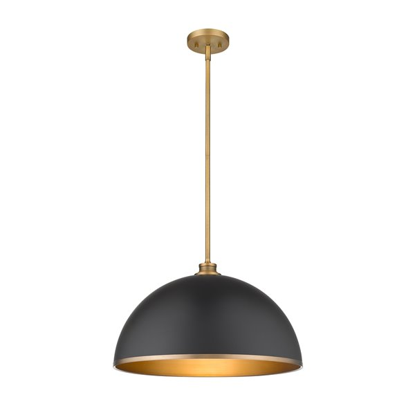 Z-Lite Citadel 1-Light Pendant - Bronze and Black - 10-in x 20-in