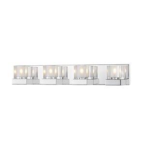 Luminaire de vanité pour salle de bain Fallon de Z-Lite à 4 ampoules, chrome et verre clair