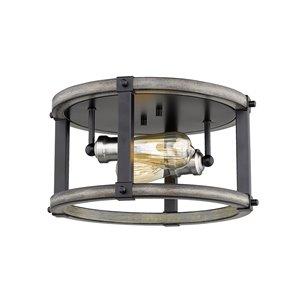 Plafonnier Kirkland de Z-Lite 2 lumières, bois de grange cendré, 12,75 po