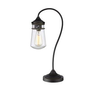 Lampe de table à 1 lumière Celeste de Z-Lite, bronze vieilli et verre clair, 20,5 po