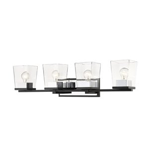 Z-Lite Bleeker Street 4 Light Vanity and Clear Glass - Matte Black and Chrome