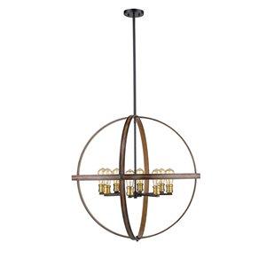 Luminaire suspendu Kirkland de Z-Lite, 8 lumières, acajou rustique