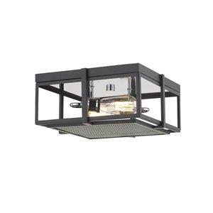 Plafonnier Halycon de Z-Lite 2 ampoules, noir mat et chrome, 13,75 po x 13,75 po