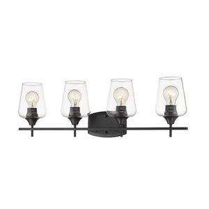 Luminaire de vanité pour salle de bain Joilet de Z-Lite à 4 ampoules, fini noir mat