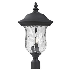 Z-Lite 533PHM-BK Armstrong Outdoor Post Light in Black and Clear Glass - 10-in x 21-in