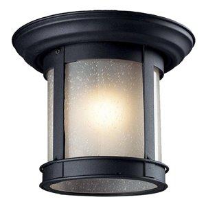 Z-Lite Outdoor Flush Mount Ceiling Light - Black and White Glass